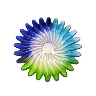 Contemporary Walther Mikasa Solaris Blue Green Swirl Plate For Sale