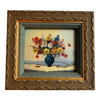Late 19th Century Antique Oil on Board Floral Still Life Painting For Sale
