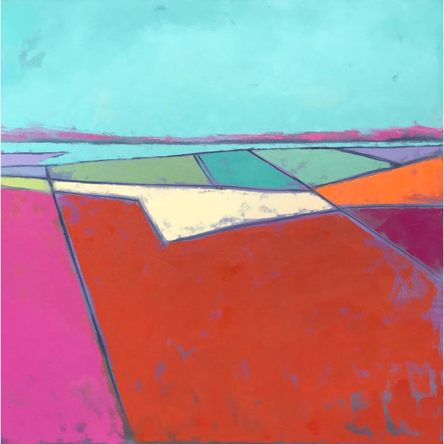"""""""Looking Down #7,"""" is one of a series of bold, graphic paintings. Inspired by the expansive landscapes seen from a..."""