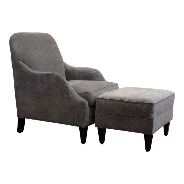 Awe Inspiring Modern Rowe Laine Grey Blue Velvet Chair Ottoman Caraccident5 Cool Chair Designs And Ideas Caraccident5Info