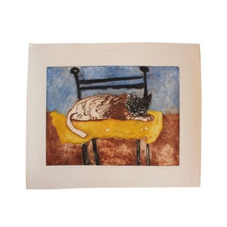 Richard Royce 1976 'Spot on the Pillow' Cat Print For Sale