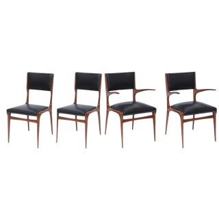 Set of 12 Carlo di Carli Walnut Dining Chairs, Italy For Sale