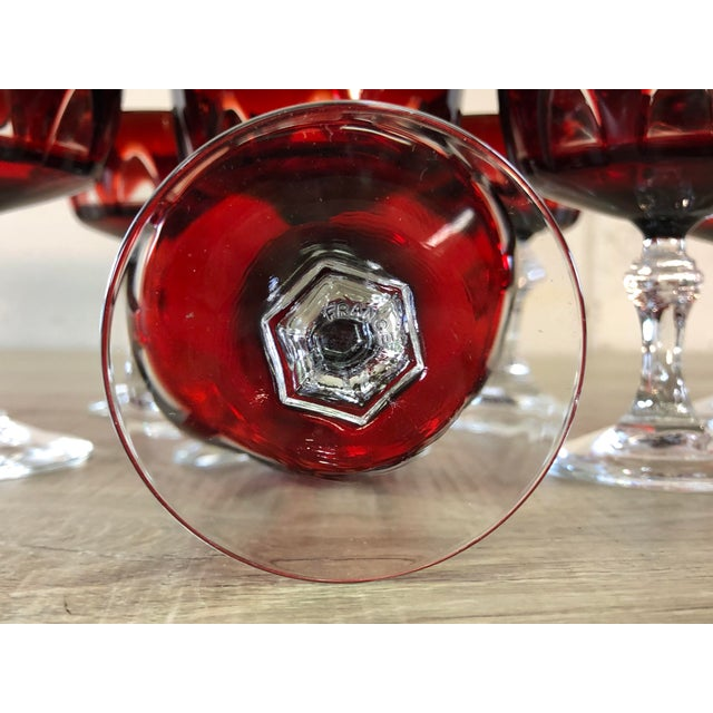Vintage 1960s Red Arched Glass Coupe Stems, Set of 8 For Sale In Boston - Image 6 of 8