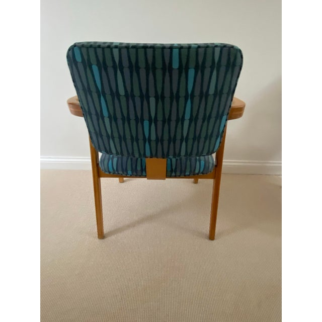 Blue 1950s Mid-Century Modern Walnut Upholstered Arm Chairs - a Pair For Sale - Image 8 of 13