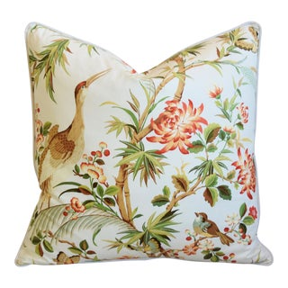 "Chinoiserie Floral Birds & Crane Feather/Down Pillow 24"" Square For Sale"