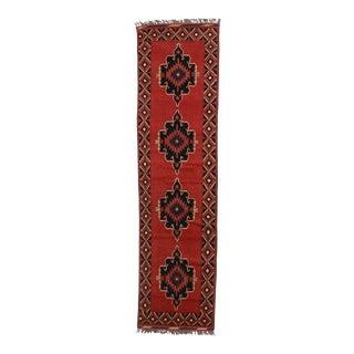 """Vintage Afghan Wool Runner - 2'8"""" X 10'7"""" For Sale"""