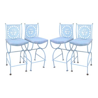 Arthur Umanoff Sun Face White Iron Bar Stools - Set of 4 For Sale