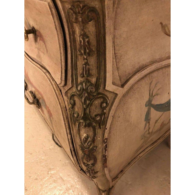 Cream Venetian Scenic Bombe Chinoiserie Painted Commode with a Faux Marble Top For Sale - Image 8 of 11