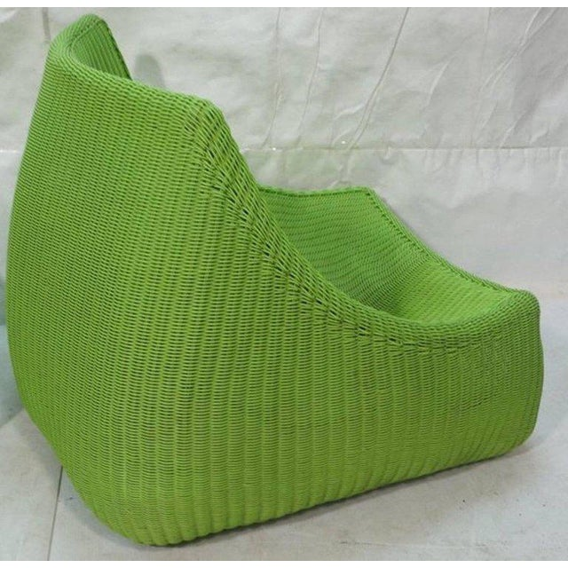 Woven Fiberglass Lime Green Lounge Chairs - A Pair For Sale - Image 4 of 6