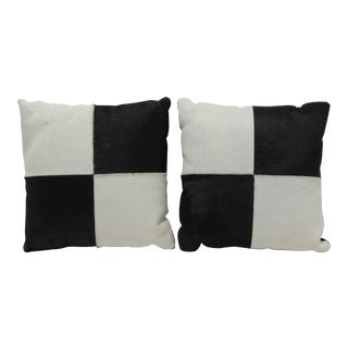 Modern Black & White Cowhide 10 Inch Leather Pillows With Zippers - a Pair For Sale