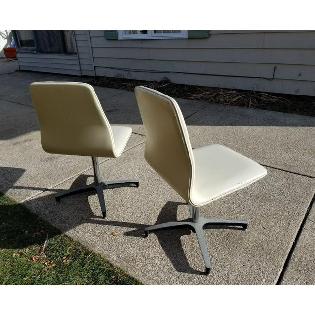 Metal MCM Chromcraft Vinyl Swivel Chairs - a Pair For Sale - Image 7 of 11