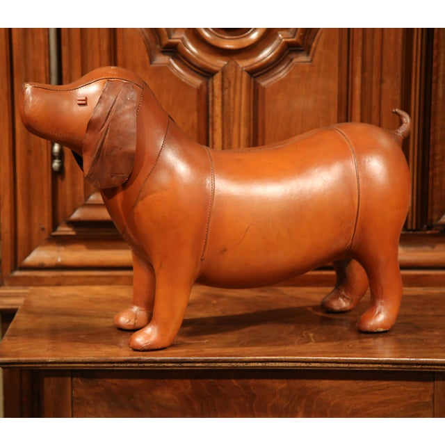 Large French Brown Leather Dog Footstool For Sale - Image 5 of 9
