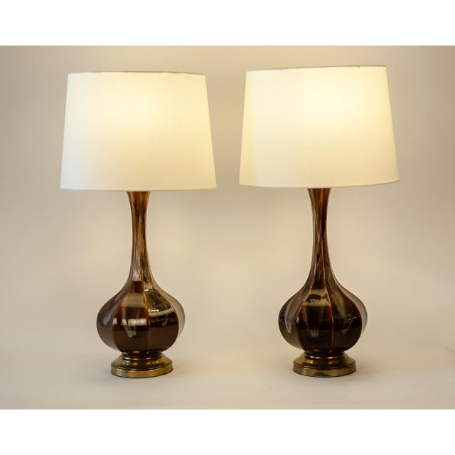 Contemporary Vintage Porcelain With Brass Base Table or Task Lamps - a Pair For Sale - Image 3 of 10