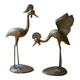 Mid Century Brass Crested Crowned Crane Figurines - a Pair For Sale