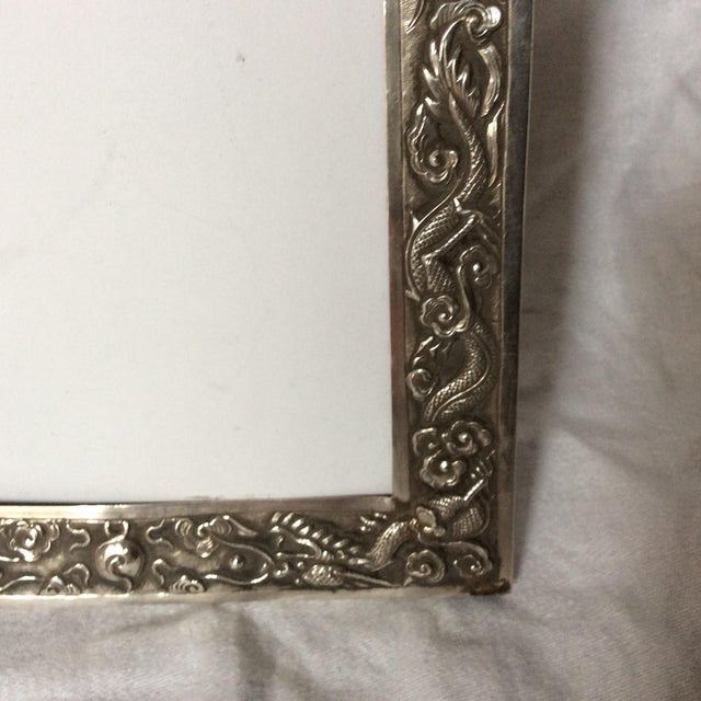 Metal Antique Chinese Export Sterling Silver Frame For Sale - Image 7 of 7