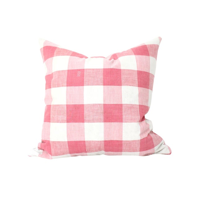 Antique French Vichey Check Pillow - Image 1 of 3