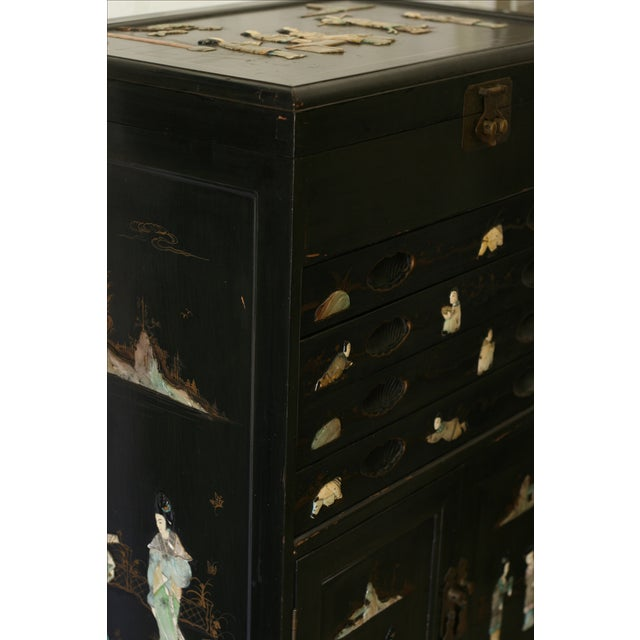 Antique Chinese Black Lacquer Pictorial China Cabinet - Image 10 of 10