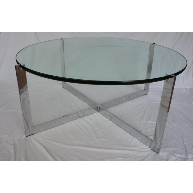 Milo Baughman Chrome & Glass Round Coffee Table For Sale - Image 5 of 11