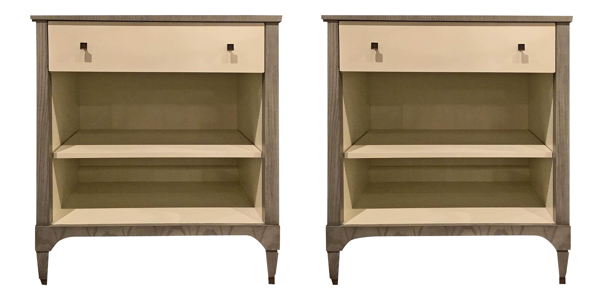 Superieur Contemporary Hickory Furniture Co. Off White Side Tables   A Pair