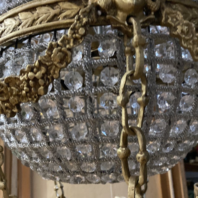 Crystal and Brass Hot Air Balloon Chandelier** For Sale - Image 4 of 11
