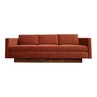 1970's Mid-Century Modern Burnt Orange Velvet Floating Sofa For Sale
