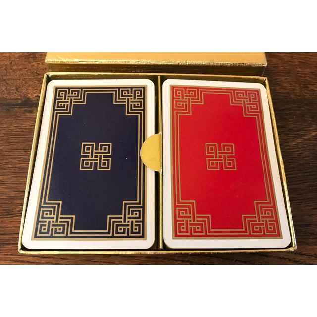 Traditional Vintage Greek Key Boxed Set Playing Card Decks For Sale - Image 3 of 9