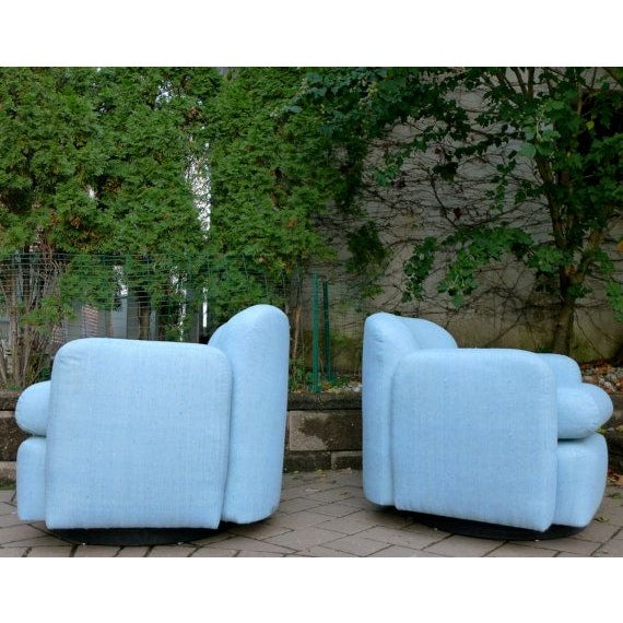 Pale Blue Mid-Century Barrel Lounge Chairs - Image 4 of 6