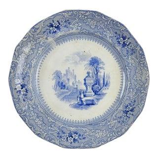 Antique Blue & White Senic Transferware Plate