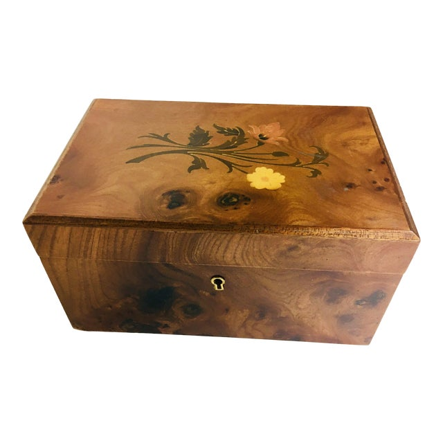 Inlaid Walnut Dresser Box For Sale