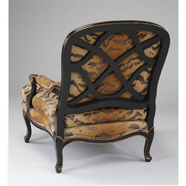 Drexel Heritage Louis XV Drexel-Heritage Tiger-Striped Chair and Ottoman - Set of 2 For Sale - Image 4 of 6