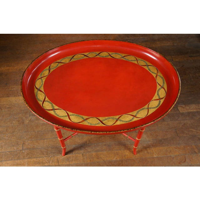 Mid-Century Modern 1970s Mid-Century Modern Scarlet & Gilt English Wooden Tray Coffee Table For Sale - Image 3 of 7