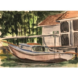 1950s Boat and Cabin Watercolor For Sale