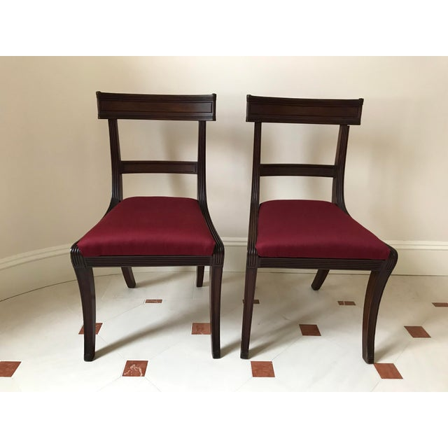 Fabric Mid 19th Century Antique New York Mahogany Side Chairs - a Pair For Sale - Image 7 of 7