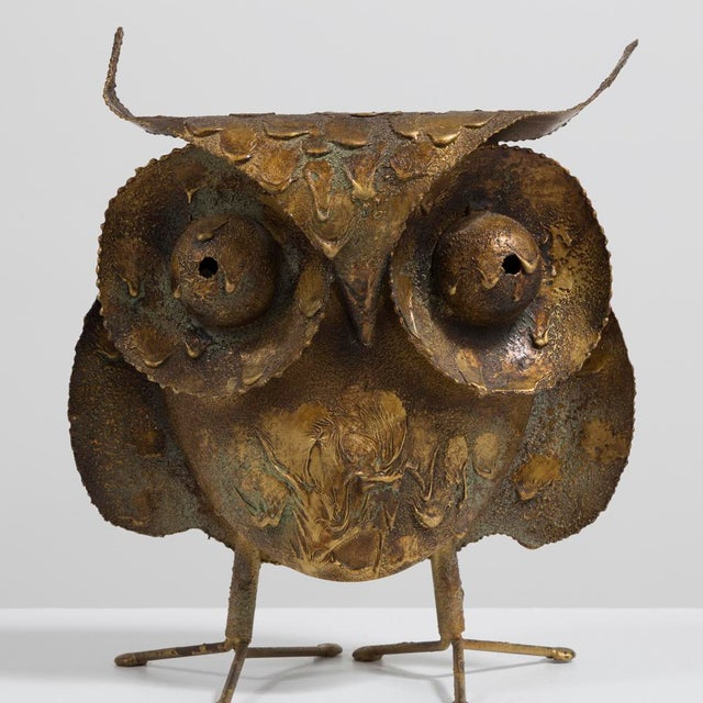 A Brutalist Owl by C. Jere Signed 1968 For Sale - Image 6 of 6