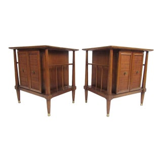 Midcentury Cane Front Nightstands For Sale
