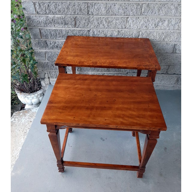 Heritage Vintage Heritage Furniture Cherry Nesting Tables With Curly Burl Wood Banding, 2 Pieces For Sale - Image 4 of 13