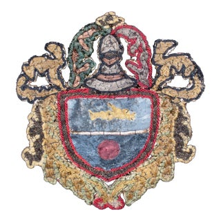 19th Century Italian Knight Coat of Arms with Armorial Embroidery For Sale