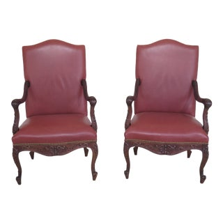 1980s Vintage Old Hickory Tannery Leather Carved Walnut Arm Chairs- A Pair For Sale