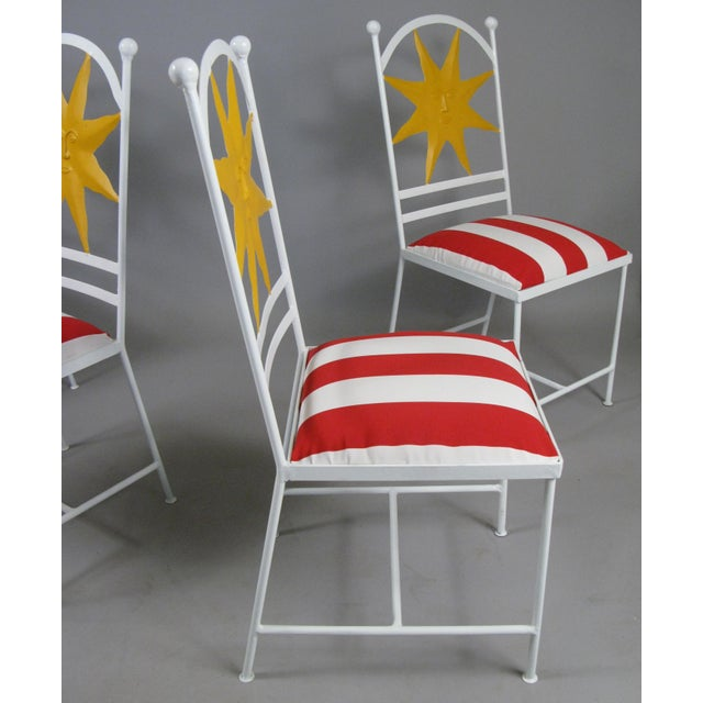 Mid-Century Modern 1960s Wrought Iron Shining Sun Chairs - Set of 4 For Sale - Image 3 of 6