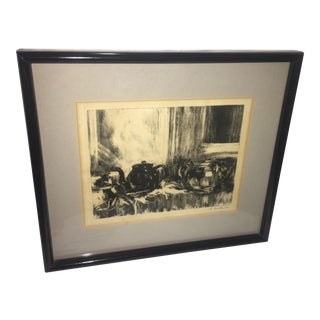 Teapots Still Life Signed Lithograph Print For Sale