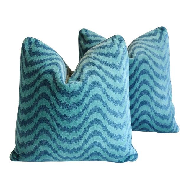 """Schumacher Velvet & Linen Feather/Down Pillows 21"""" Square - Pair For Sale"""
