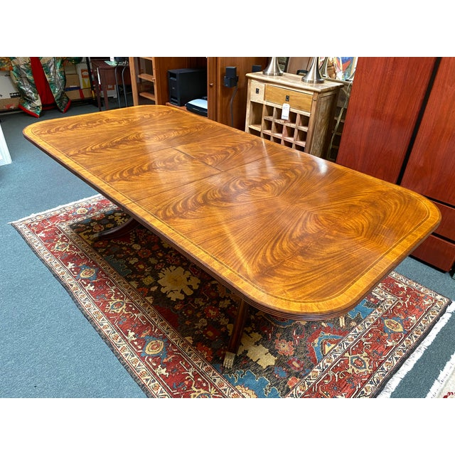 Chestnut Jonathan Charles Regency Extension Table & Baker Furniture + Custom Chair Dining Set For Sale - Image 8 of 13
