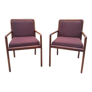 Vintage Ward Bennett Wood Frame Chairs - A Pair