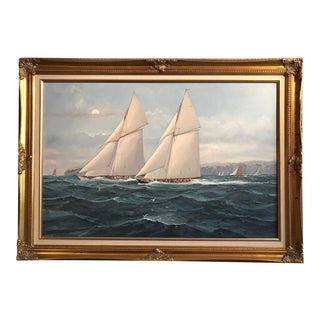 Racing Yachts Oil Painting, M Whitehand For Sale