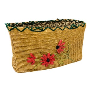 Vintage Embroidered Basket For Sale