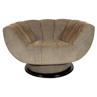 Mid-Century Biscuit Tufted Swivel Chair in Smoked Sage Fabric by Adrian Pearsall For Sale