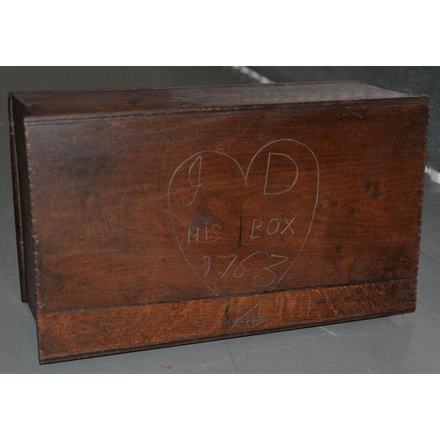 18th Century 18th Century Carved Walnut Bible Box C.1763 For Sale - Image 5 of 11
