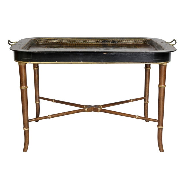 Rectangular with beautiful painted details, brass handles.