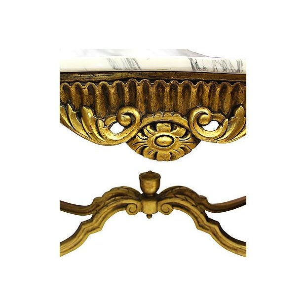 Italian Rococo Carved & Gilded Wood Console Table For Sale In West Palm - Image 6 of 10