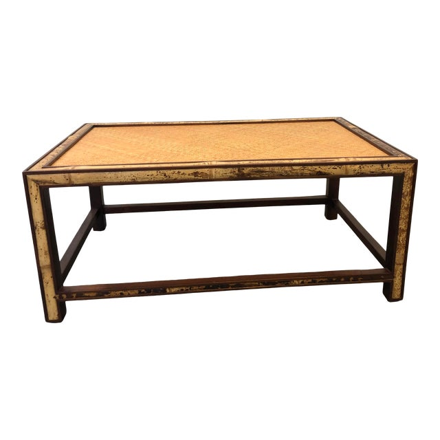 Faux Tortoise Bamboo and Rattan Coffee Table For Sale